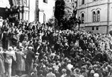 """Jewish prisoners jeered at by local crowds on their way into the synagogue in Baden-Baden on November 10, 1938. The """"Night of Broken Glass"""" Kristallnacht.  75 year anniversary of this terrible night"""