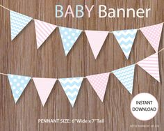 Baby Shower banner, printable banner, baby pink and blue banner, DIY party - BR 228