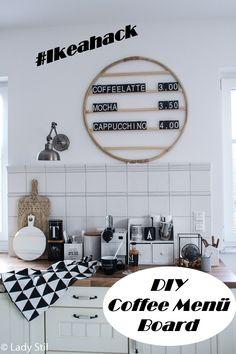 DIY Cafe Menu Chalkboard Letter Board or Upcycling of a Hula Hoop Tire - Trend Kitchen Decoration Kitchen Decor Themes, Room Decor, Cafe Menu Boards, Menu Board Design, Macrame Bracelet Diy, Chalkboard Lettering, Menu Chalkboard, Kitchen Trends, Kitchen Ideas
