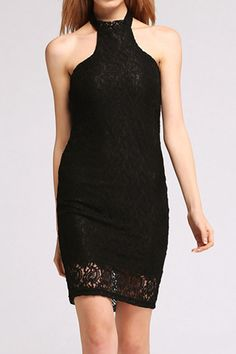 Black Summer Sleeveless Backless Lace Hollow Party Bodycon Dress