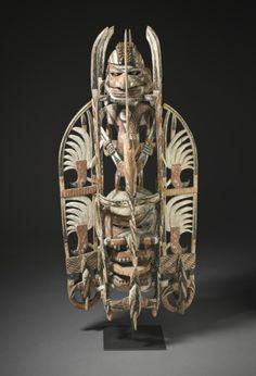 Mask (murua), Papua New Guinea, New Ireland, circa 1890, Jewelry and Adornments; Wood, sea sponge, snail opercula, and pigment