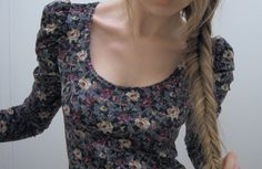 blonde, braid, cute, fashion, fish tail braide, floral, girl, hair, nice, skinny