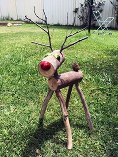 (Sun-smart) Rudolph the log-based reindeer diy christmas decoration! Made this for my wife (inspired from pinterest), now I've got orders for them all over the place!