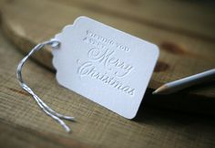 DieCut Letterpress Gift Tags Very Merry Christmas by FoglioPress