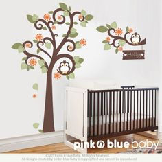 New Design : Two owls and Swirly Tree - Nursery Kids Removable Wall Vinyl Decal. $112.00, via Etsy.