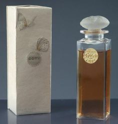"""Eau de toilette Oregano"" - (1920) Presented in its box wrapped in paper carton embossed ivory decorated with two butterflies./ Model created by René Lalique,"