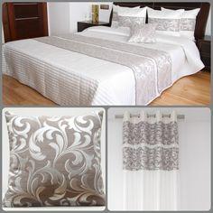 Komplety sypialniane dekoracyjne w kolorze ecru z kakaowym ornamentem