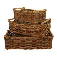 3 Piece Rectangle Rattan Storage Basket Set