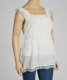 Another great find on #zulily! Ivory Empire-Waist Tank - Plus by Simply Irresistible #zulilyfinds