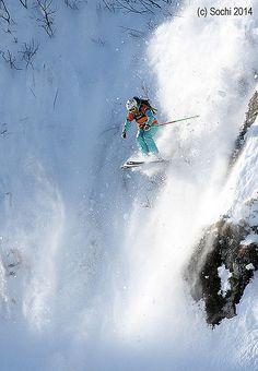 Skiing in Sochi Ski Extreme, Extreme Sports, Ski Freeride, Freestyle Skiing, Snow Fun, Snow Skiing, Bungee Jumping, Ski And Snowboard, Kitesurfing