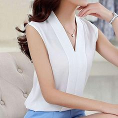 Women Chiffon Blouse Sexy Sleeveless V neck 2017 Spring Summer Woman Blouse Casual Office Lady Solid Top Female Shirt Blouse Sexy, Work Blouse, White Shirts Women, Blouses For Women, Ladies Blouses, Business Outfit Damen, Korean Fashion Styles, Style Fashion, Korean Style