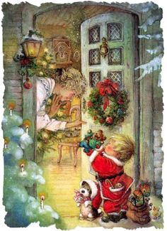 ' 'Thank You, Tommy. This is So Very Nice. I Love and I Appreciate You and Your Family. God Bless You Abundantly.' - Illustration/Painting by Lisi Martin Vintage Christmas Images, Old Christmas, Old Fashioned Christmas, Christmas Scenes, Vintage Holiday, Christmas Pictures, Christmas Greetings, Christmas Crafts, Christmas Decorations
