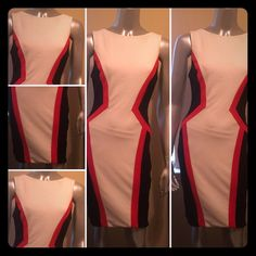 White/Black/Red fitted dress Zipper in back Bisou Bisou Dresses