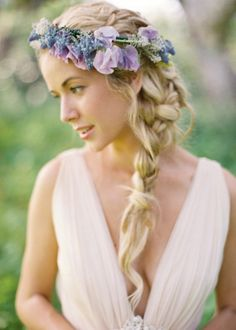 Bridal Style: Flower Crowns pretty side plait with flower crown. This looks beautiful. Wedding Hair Flowers, Flowers In Hair, Hair Wedding, Purple Flowers, Wedding Blog, Wedding Ideas, Purple Wedding, Fresh Flowers, Tipi Wedding