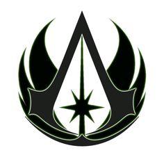 Jedi Assassins Creed Assassins Creed Tattoo, Assassins Creed Game, Assassins Creed Odyssey, Star Wars Clone Wars, Star Wars Art, Jedi Symbol, Destiny Fallen, Assassin's Creed Black, Assassin's Creed Wallpaper
