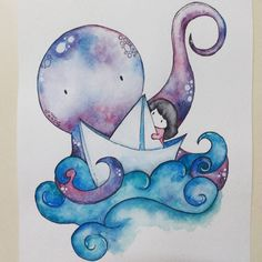 More water color adventures. Release the kraken. #art #cute #illustration #drawing #watercolor #colorful #sea #octo #paper #boat #artist #funny #creative