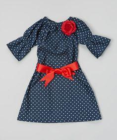 Loving this Navy Polka Dot Bell-Sleeve Dress - Toddler & Girls on #zulily! #zulilyfinds