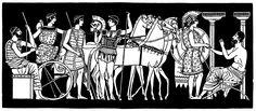 Departure of Achilles. Greek mythology. Historic Horses Illustration! 4dogarts.com