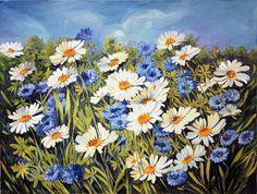Daisies Field Original Oil Painting on Canvas Flowers Art Wall Decor via Etsy
