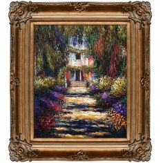 Monet 'Garden Path at Giverny' Canvas Art Oil Painting ($243) ❤ liked on Polyvore featuring home, home decor, wall art, bronze, vertical canvas wall art, canvas wall art, garden wall art, garden home decor and claude monet garden paintings