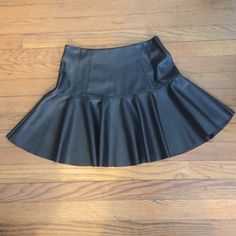 Faux black leather skater skirt Faux leather skater skirt from K•la only worn once BlankNYC Skirts Circle & Skater