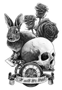 Off with her head! by Sebastien Yarks, via Behance skull tattoo alice in wonderland art drawing illustration