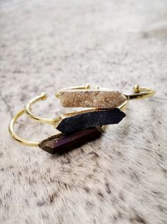 Druzy Quartz Cuffs – Flock Fashion and Accessories South African Shop, Druzy Quartz, Druzy Ring, Different Colors, Cuffs, Shops, Colours, Random, Classic