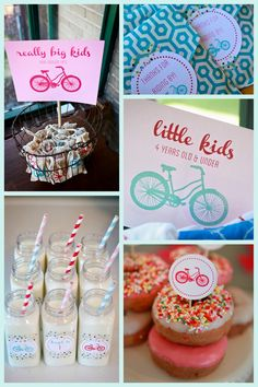 bike themed birthday party- bike parade, cans, balloons and sign on bikes, kids sign helmet, bike obstacle course, bike car wash...