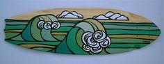 The Surf Art of Heather Brown: Exciting New Original Art by Heather Brown Surfboard Art, Heather Brown Art, Skateboard Art, Brown Artwork, Art Boards, Art, Hawaii Art, Beach Art, Original Art