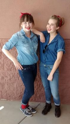 Cute and simple Rosie The Riveter costume for Halloween or decade day at school!