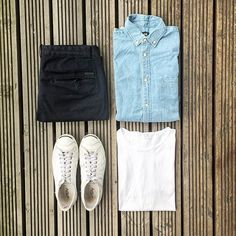 WEBSTA @ thenortherngent - A handy combo is to throw a chambray/denim shirt over a white tee. Relaxed look. @hm has good options and @allsaintslive do the best denim shirts. #tngoutfitgrid @hm shirt@allsaintslive trousers@converse #jackpurcell @sunspelclothing tee