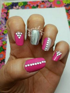 Pink bling and girlie nails