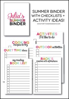 Printable Summer Binder- create a binder full of fun for your kids this summer! Beat the boredom blues. Printables for each section include... Found on thirtyhandmadedays.com