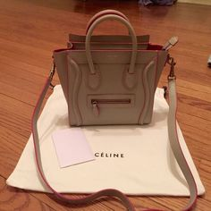Celine Nano luggage khaki pink Stunning Limited Edition Celine Nano. Can be worn with or without strap. Pink/khaki color. Comes with dust bag and care cards . 100% authentic, please feel free to ask any questions . Celine Bags Crossbody Bags