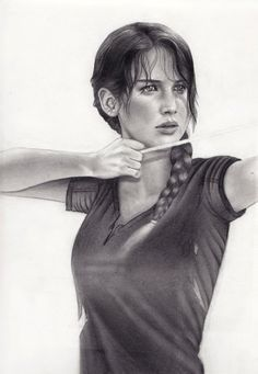 Katniss - The hunger games (Drawing) i don't understand this picture where is the bow/string?? Lmao