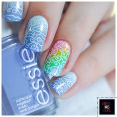 #StampingMasterOct - nail art - Clouds & rainbow - Bundle Monster stamping plate - Essie as if 4