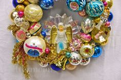 """Detail of """"And the Angels Sing"""" Wreath by GLittermoon Vintage Christmas. Recycling memories into art. ©Glittermoon Productions LLC"""