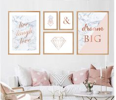 room decor Set of 5 prints in 3 sizes pink marble gray rose gold ampersand diamond Printable wall art set Digital Prints Rose Gold Room Decor, Rose Gold Rooms, Pink Bedroom Decor, Living Room Decor, Pink Gold Bedroom, Rose Gold Wall Art, Rose Gold Frame, Bedroom Ideas, Rose Gold And Grey Bedroom