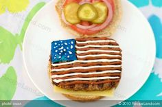 """""""These juicy and classic burgers are shaped and decorated like the American flag, perfect for celebrating the 4th of July."""" -- Cute decorating idea for just about any kind of square sandwich.  Burger recipe and instructions at the click-through."""