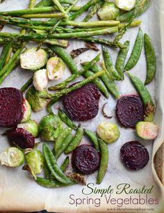 Simple Roasted Spring Vegetables recipe { lilluna.com }