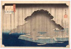 UTAGAWA Hiroshige(ICHIRYUSAI Hiroshige, 歌川 広重 Japanese, 1797-1858) Evening Rain at Karasaki  唐崎夜雨 1834