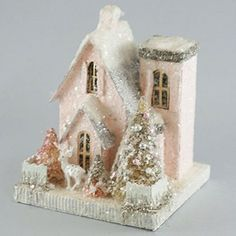 Set of 2 Cody Foster Christmas House - Two Petite Pink Houses