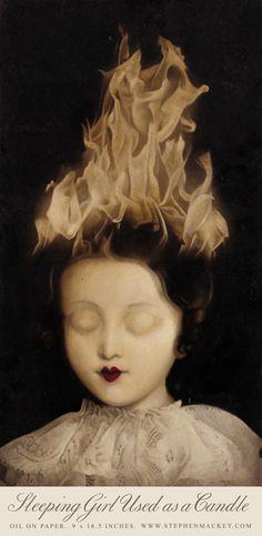 sleeping girl used as a candle | stephen mackey