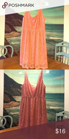 Beautiful coral lace sleeveless dress Beautiful coral lace sleeveless dress from Forever 21. Very lightweight and perfect for summer! Tagged size Large and fits true to size. Style suits any body type! Only worn a few times, in great condition. REASONABLE OFFERS CONSIDERED! Forever 21 Dresses