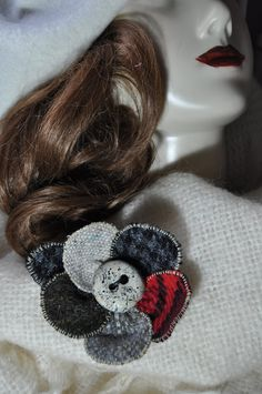 winter coat pin large wool tweed cape pin brooch OOAK handmade corsage cream red grey jacket scarf wrap coat hat flower 10 cm fabric button by edgeofthesand on Etsy Wrap Coat, Scarf Wrap, Coat Pin, Hat Flower, Wool Cape, Handmade Christmas Gifts, Red And Grey, Corsage, Beautiful Hands