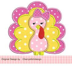 Thanksgiving Girl Turkey Applique -4x4 5x7 6x10-Machine Embroidery Applique Design on Etsy, $2.99