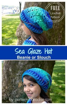 Crochet For Babies Free Crochet Pattern: Sea Glaze Hat Crochet Adult Hat, Crochet Beanie Pattern, Crochet Kids Hats, Baby Blanket Crochet, Crochet Scarves, Crochet Baby, Free Crochet, Knit Hats, Kids Crochet Hats Free Pattern