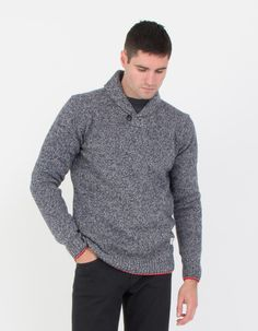 Harlington Shawl Sweater in Navy