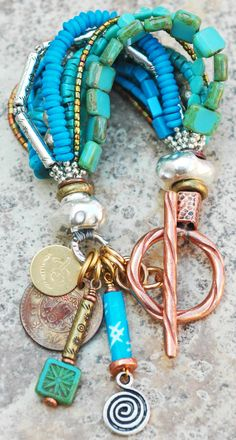 I love the mixture of white, rose,and yellow Gold and a mixture of different colors of Turquoise!