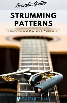 An article on how to understand acoustic guitar strumming patterns using music theory, timing and pickstroke direction, along with some practical application and strumming worksheets. Guitar Strumming Patterns, Guitar Chord Chart, Guitar Tabs, Guitar Patterns, Guitar Lessons For Beginners, Music Lessons, Guitar Chords Beginner, Guitar Exercises, Guitar Tutorial